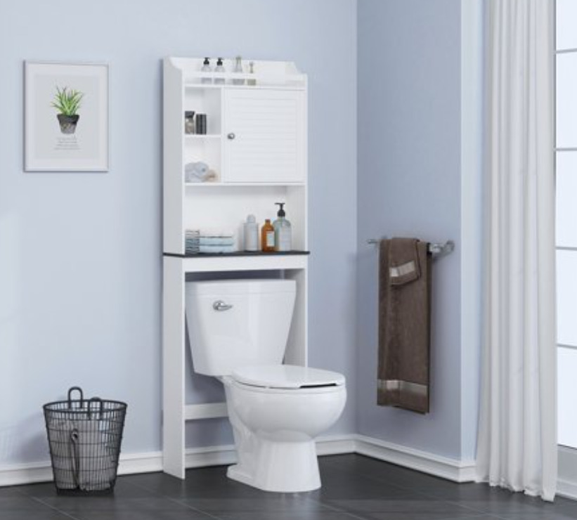 Spirich Bathroom Shelf over the Toilet, Storage Shelves Space Saver for Bathroom, Cabinet Organizer with Louvered Doors