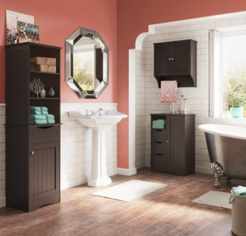 RiverRidge Ashland Collection Tall Linen Cabinet for Bathroom Storage