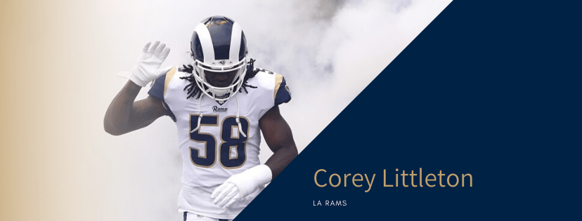 LA Rams nfl football line backer coming running into stadium through smoke