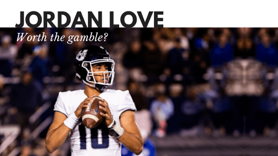 quarterback Jordan love in college NCAA game, Text above photo