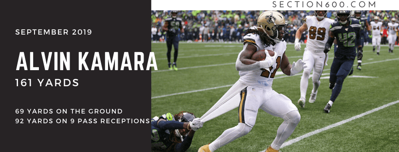 Best Saints games 2019, Alvin Kamara banner, Saints at Seahawks