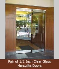 Pair Of Clear Glass Herculite Doors