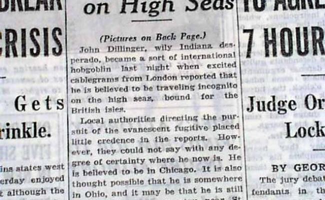 Outlaw John Dillinger Hunted In Chicago Post Little