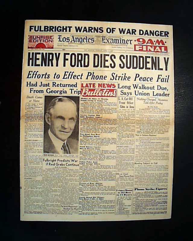 Henry Danger Dies : henry, danger, Death, Funeral, Henry, Ford..., RareNewspapers.com