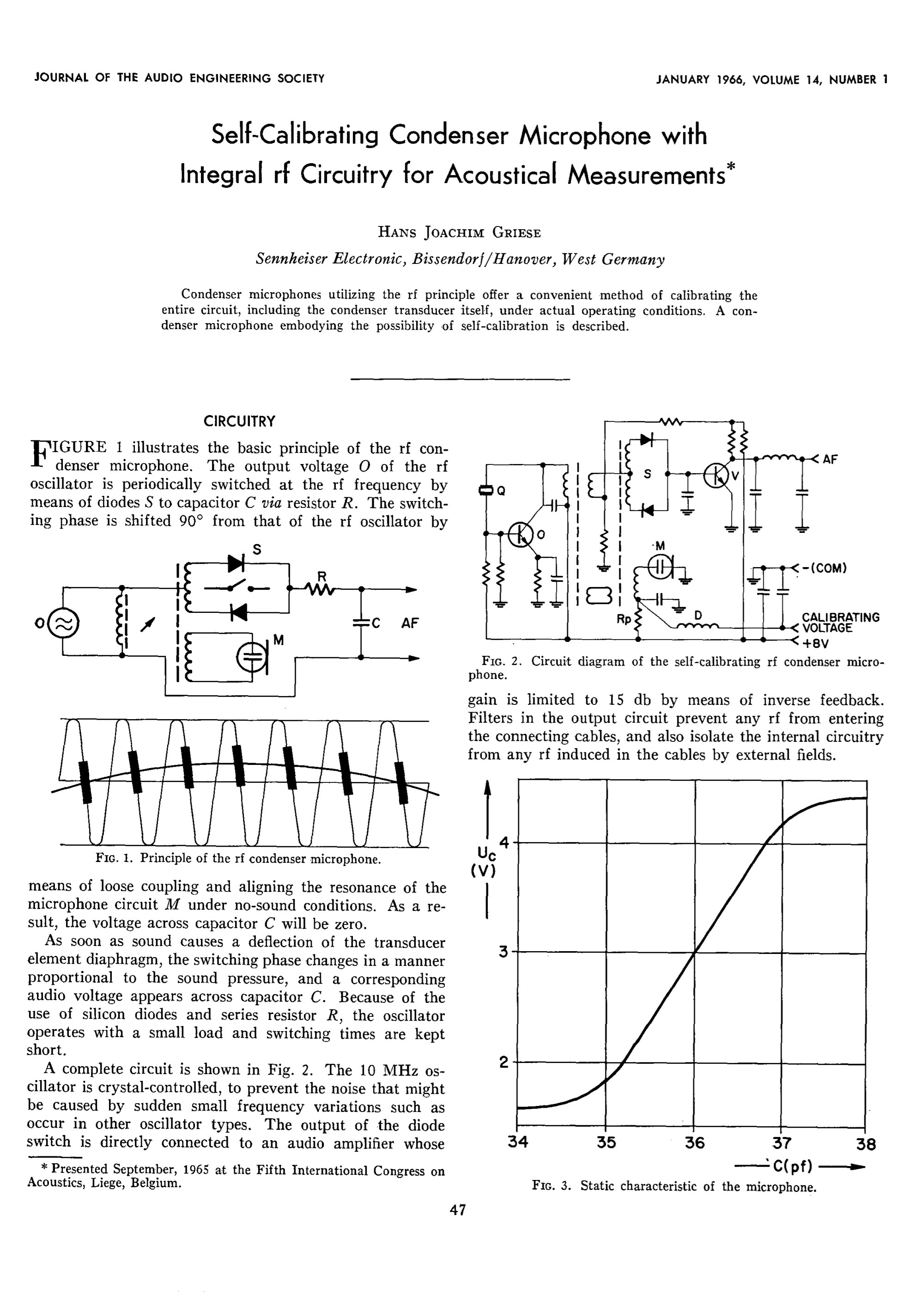 hight resolution of aes e library self calibrating condenser microphones with integrated r f circuitry for acoustical measurements