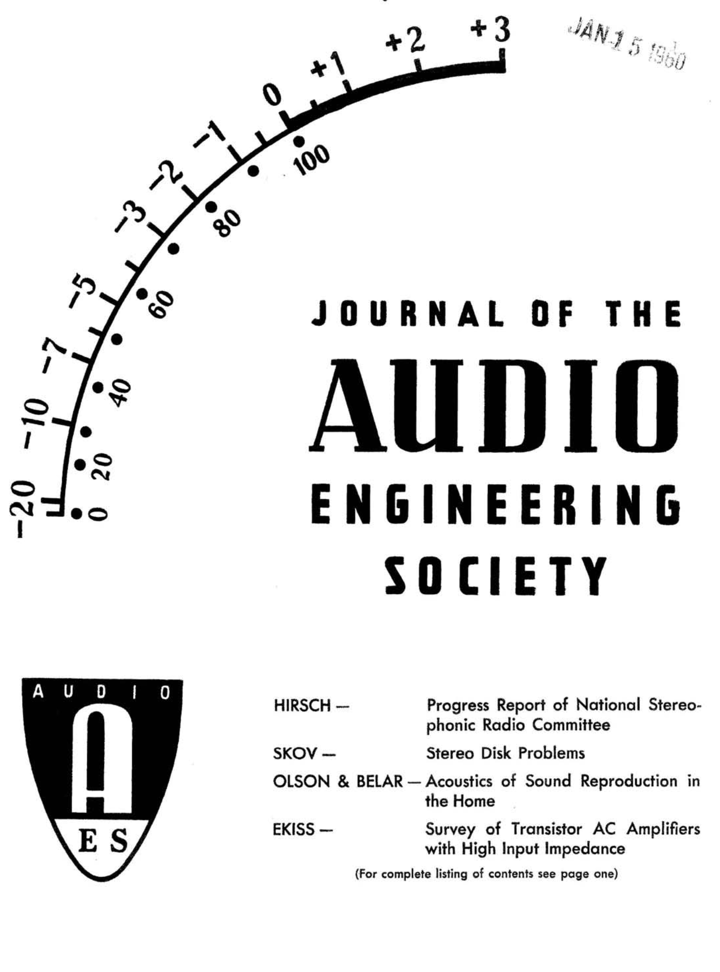 Aes E Library Complete Journal Volume 8 Issue 1