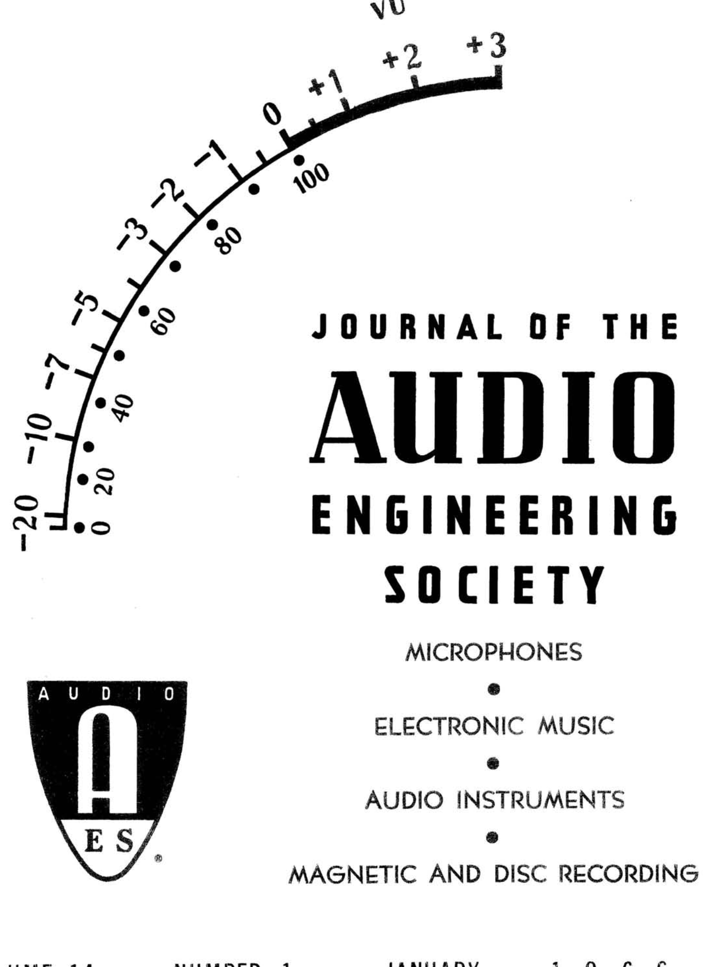 AES E-Library » Complete Journal: Volume 14 Issue 1