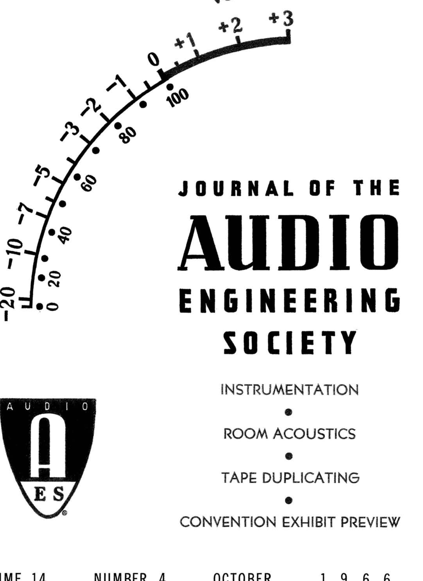 Aes E Library Complete Journal Volume 14 Issue 4