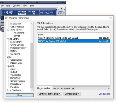 Setting Shoutcast DSP Plugin