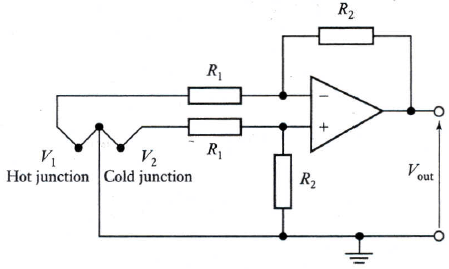 Differential amplifier with thermocouple