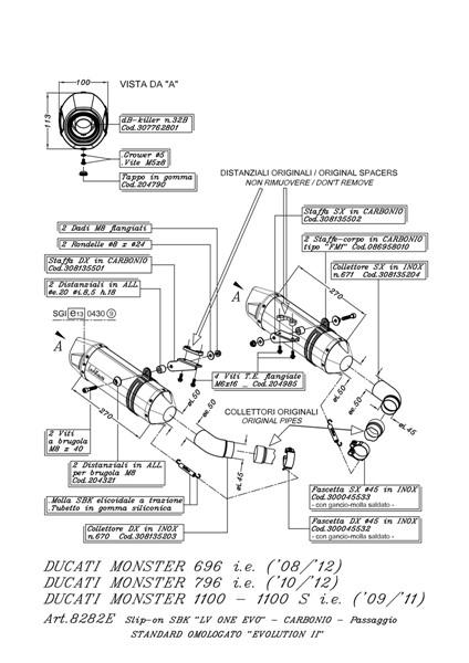 DUCATI MONSTER 696 LEOVINCE LV ONE EVO SLIP ON EXHAUSTS