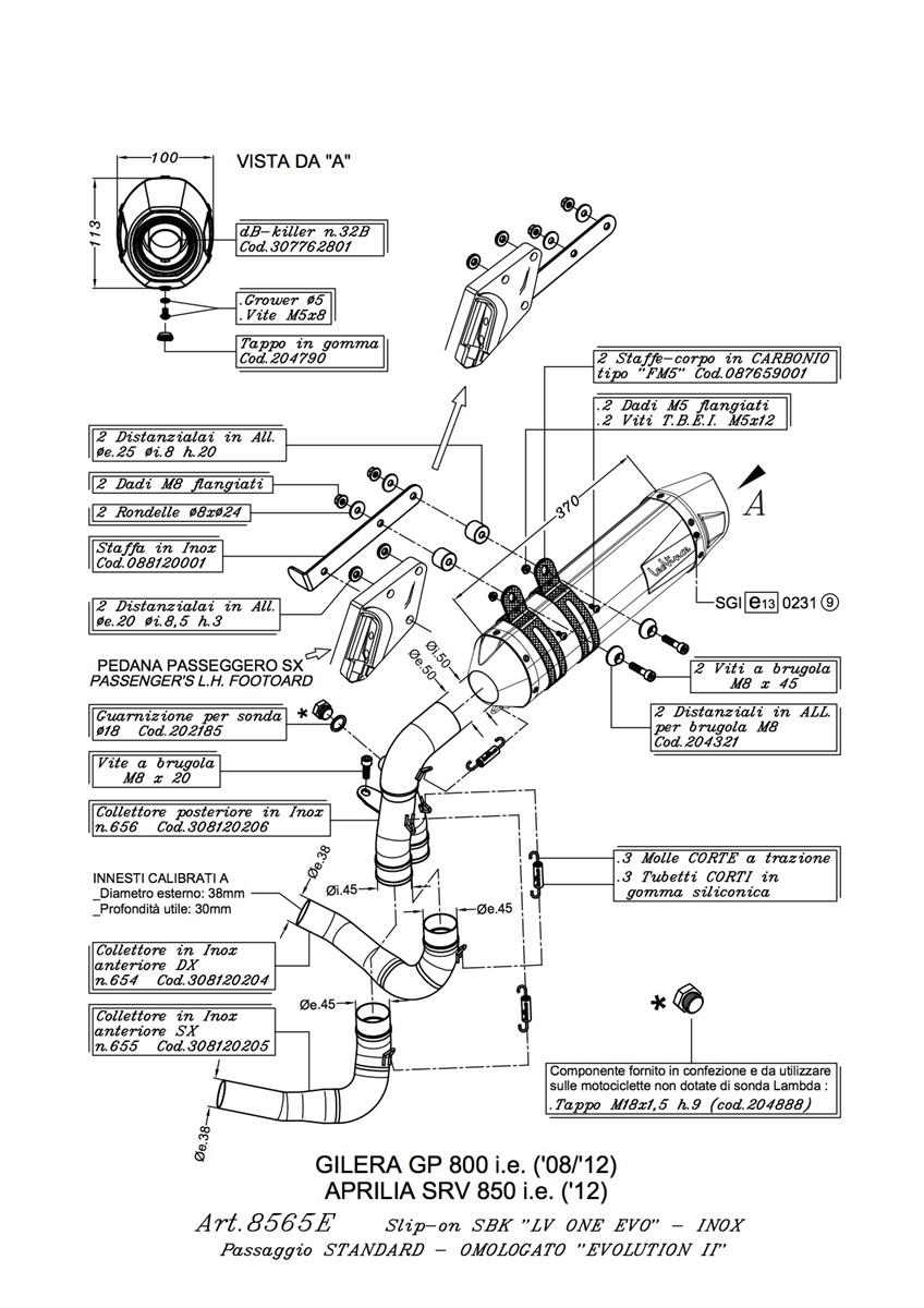 GILERA GP800 LEOVINCE LV ONE EVO SLIP ON EXHAUST