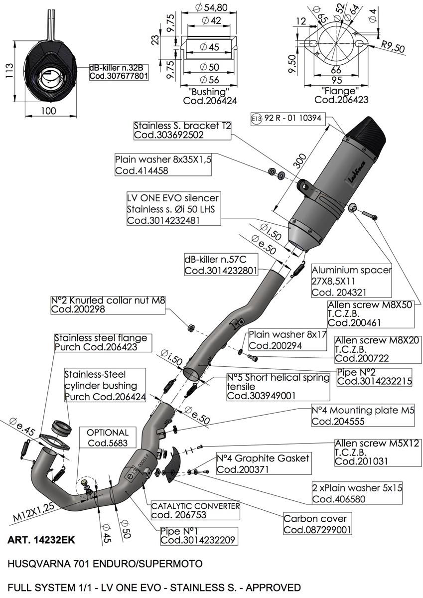 KTM 690 ENDURO R/SMC R LV ONE EVO EXHAUST SYSTEM