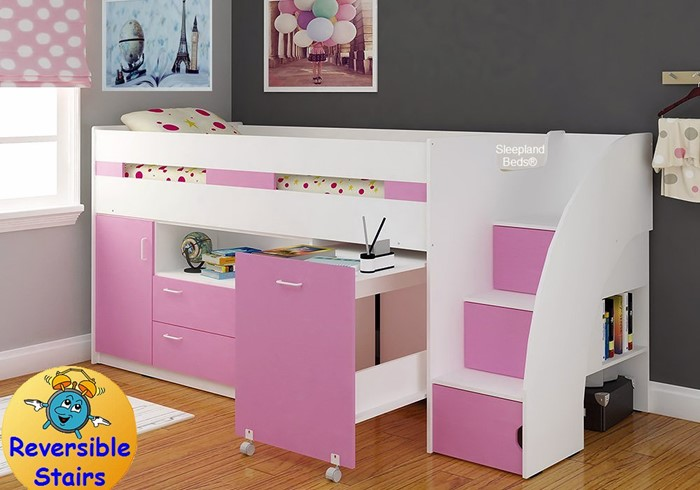 Supreme Pink Mid Sleeper Bed With Stairs Sleepland Beds