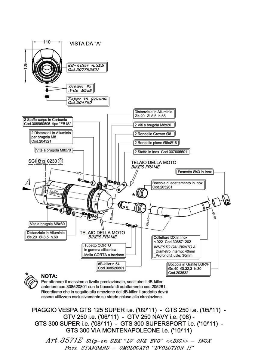 VESPA GTS 250 i.e. LEOVINCE LV ONE EVO SLIP ON EXHAUST