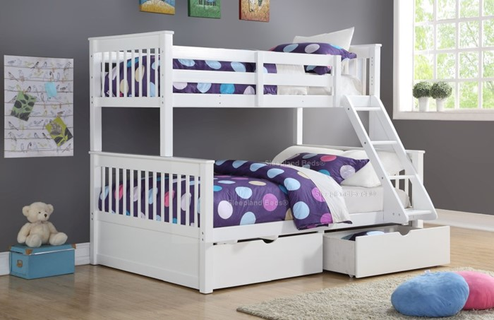 white supersonic wooden double bunk
