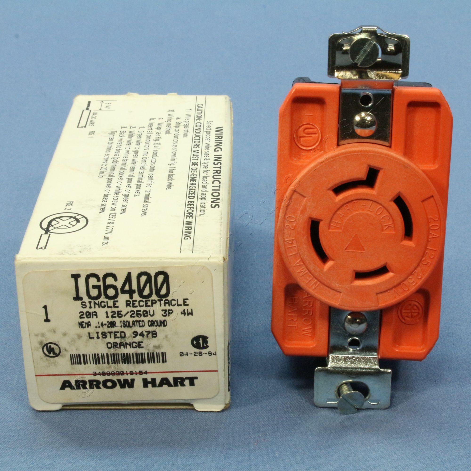 hight resolution of arrow hart isolated ground orange turn locking receptacle nema 14 20r 20a ig6400