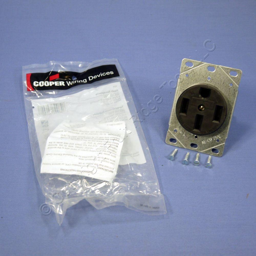 medium resolution of cooper flush range receptacle oven stove outlet 50a 125 250v 14 50r 1258 bagged