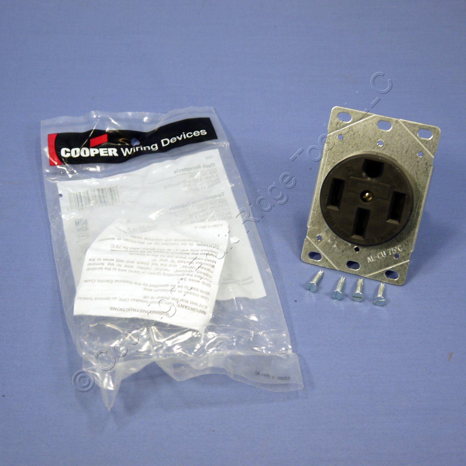 hight resolution of cooper flush range receptacle oven stove outlet 50a 125 250v 14 50r 1258 bagged