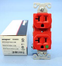 cooper red hospital grade receptacle outlet duplex nema 5 20r 20a 125v 8300rd [ 3456 x 3456 Pixel ]