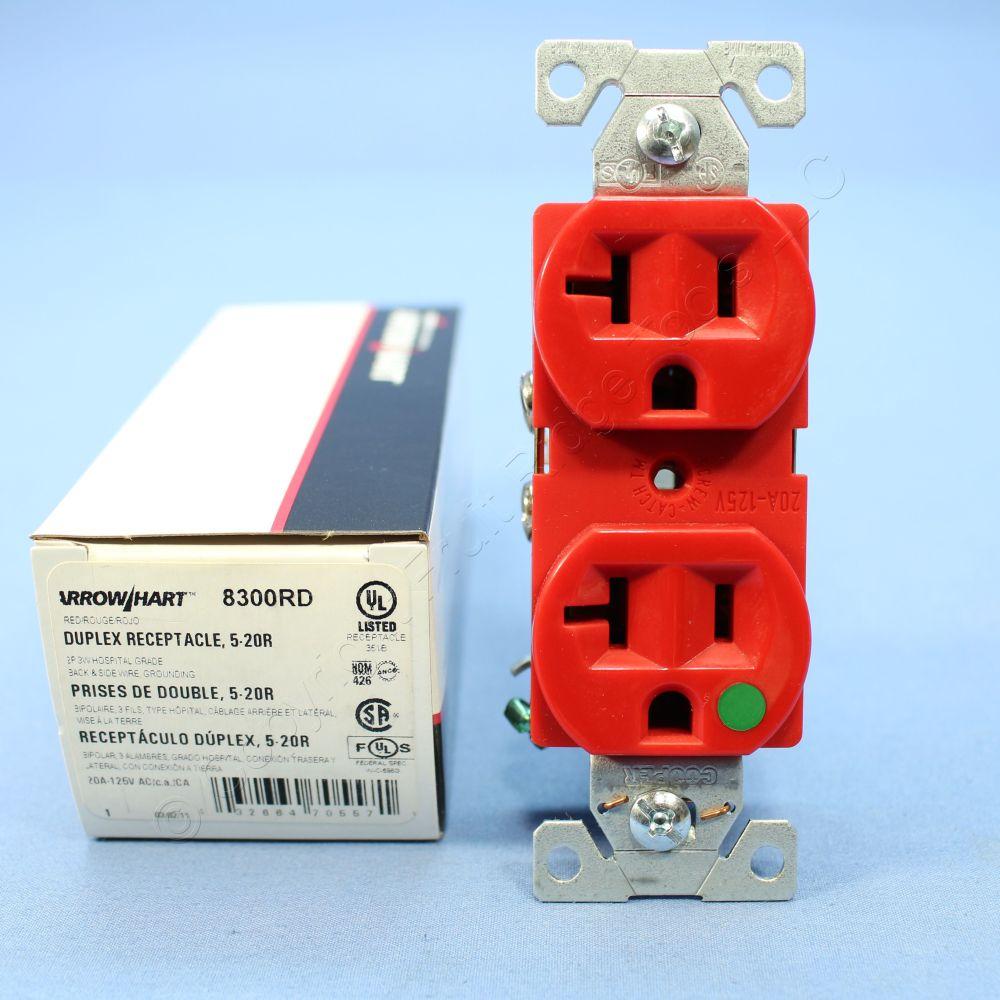 medium resolution of cooper red hospital grade receptacle outlet duplex nema 5 20r 20a 125v 8300rd