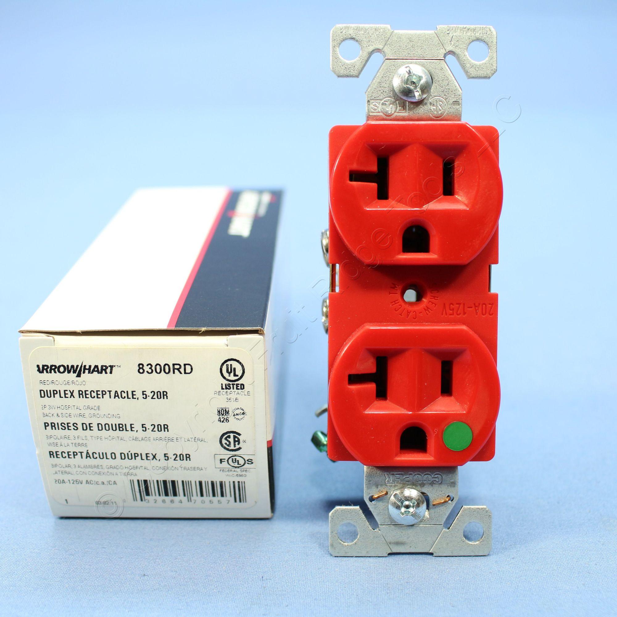 hight resolution of cooper red hospital grade receptacle outlet duplex nema 5 20r 20a 125v 8300rd