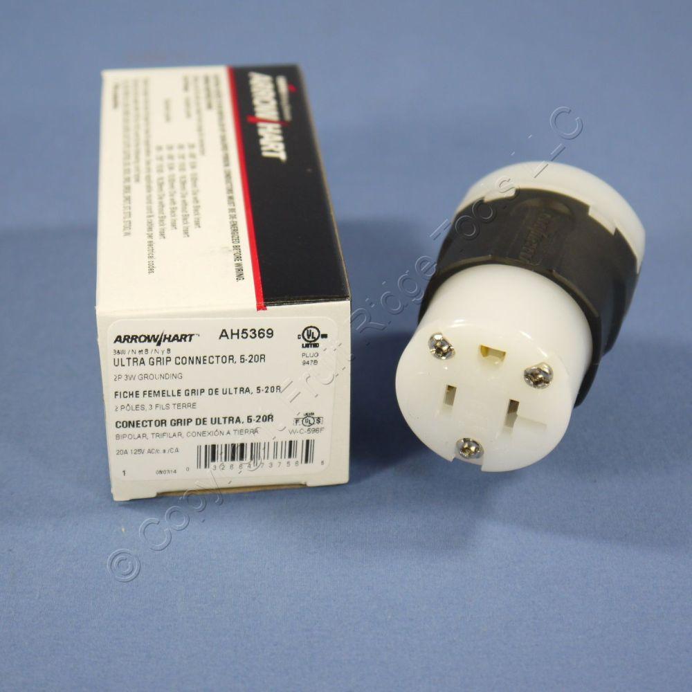 medium resolution of cooper ultra grip industrial straight blade connector plug nema 5 20r 20a ah5369