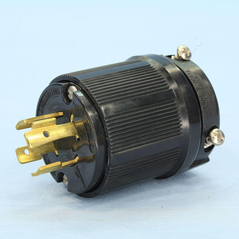medium resolution of cooper wiring devices black locking plug 20a 125 250v 3 pole 4 wire cwl1420bk bu