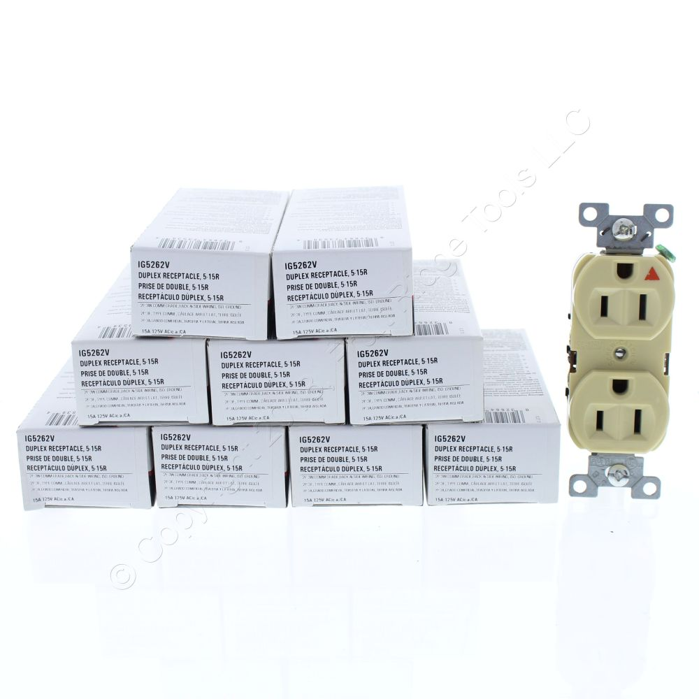 medium resolution of  shop 10 cooper ivory industrial duplex isolated ground receptacles 5 15r 15a 125v 2 pole 3 wire back side wired ig5262v fruit ridge tools