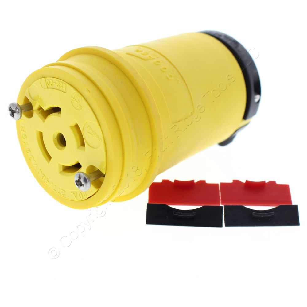 medium resolution of cooper yellow locking connector l22 20r back wire 20a 277 480v 3ph 4p5w l2220cy