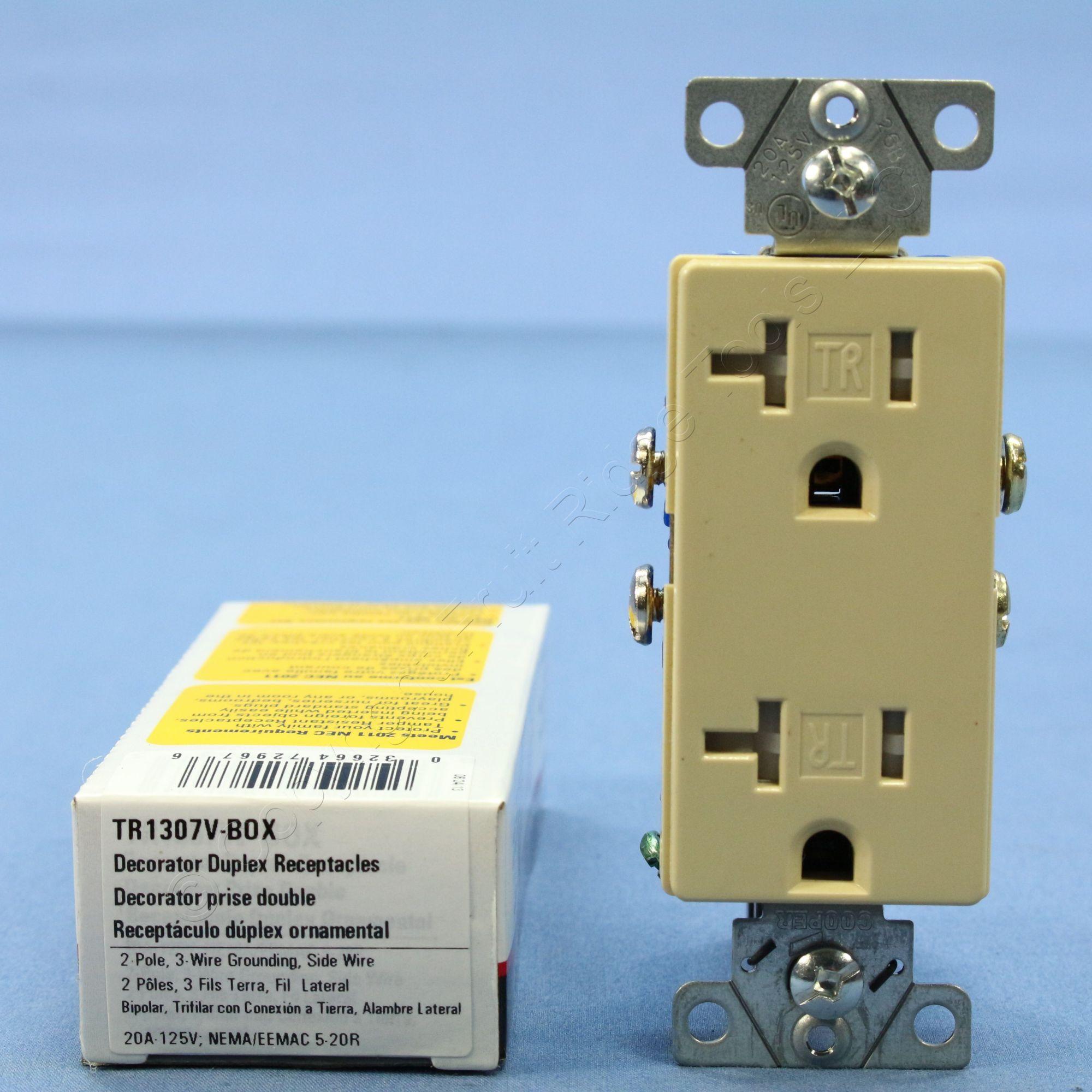 hight resolution of cooper ivory tamper resistant duplex receptacle outlet nema 5 20r 20a tr1307v