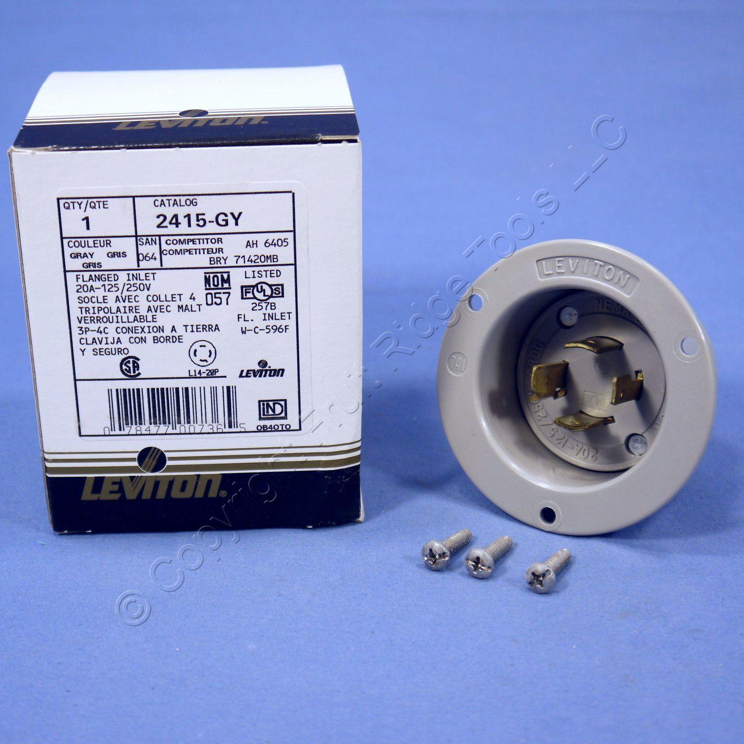 hight resolution of leviton gray l14 20p locking flanged inlet turn twist plug 20a 125 250v 2415 gy
