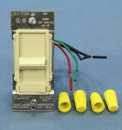 new leviton almond decora lighted 3 way preset slide dimmer switch 600w 6633 pa [ 3456 x 3456 Pixel ]