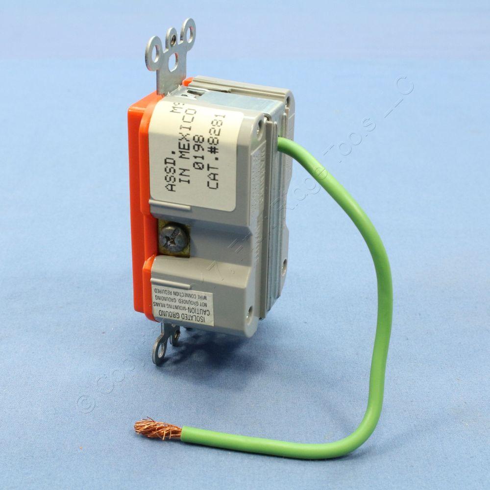 medium resolution of new leviton orange isolated ground hospital surge receptacle outlet 15a 8281 igo