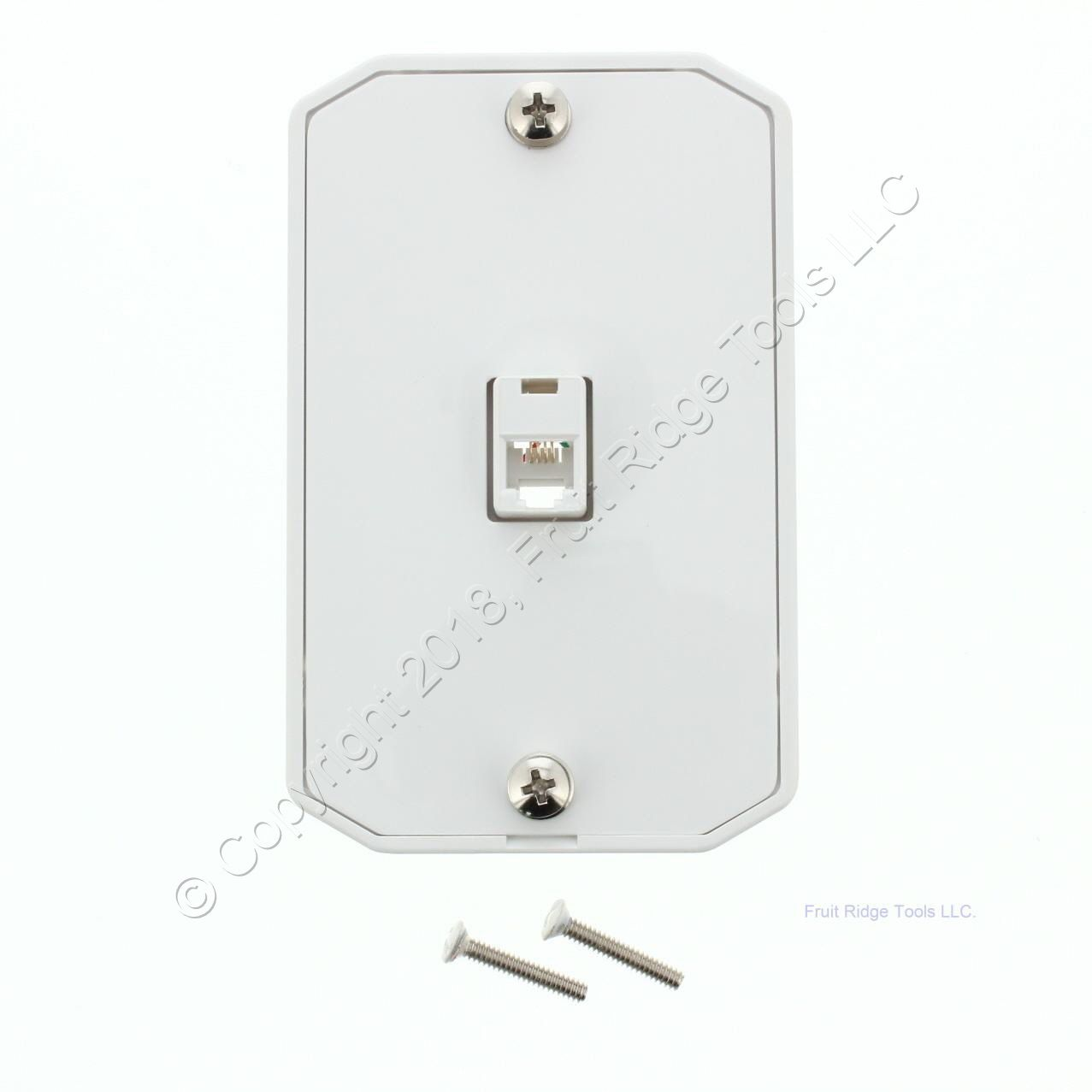hight resolution of leviton white wall phone mounting plate telephone jack c0253 w