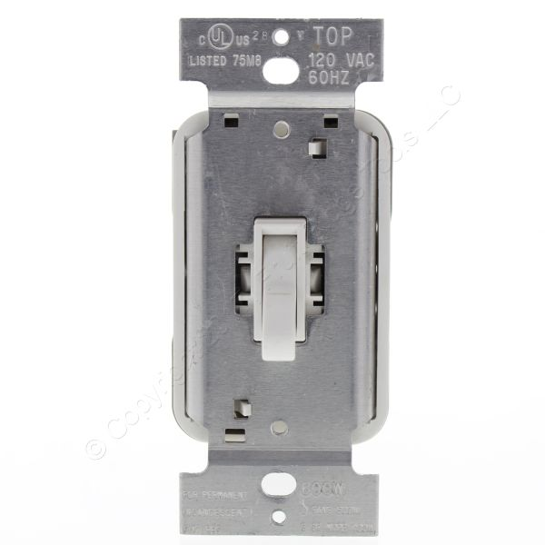 Pass & Seymour White Toggle Dimmer Switch 600w 120vac