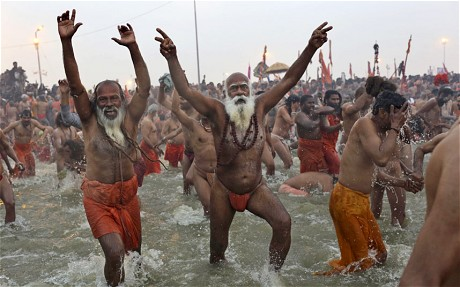 Millions of Hindus plunge into Ganges River in India to wash away their sins  Telegraph