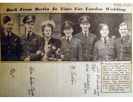Wing Commander Cliff Alabaster (third from right) at a wartime wedding