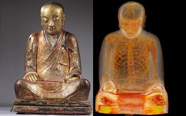 mummified monk revealed inside