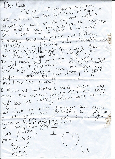 'Daddy, I miss you so much': girl's heartbreaking letter