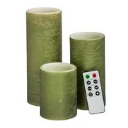3 Piece Flameless Wax Pillar Candle Set