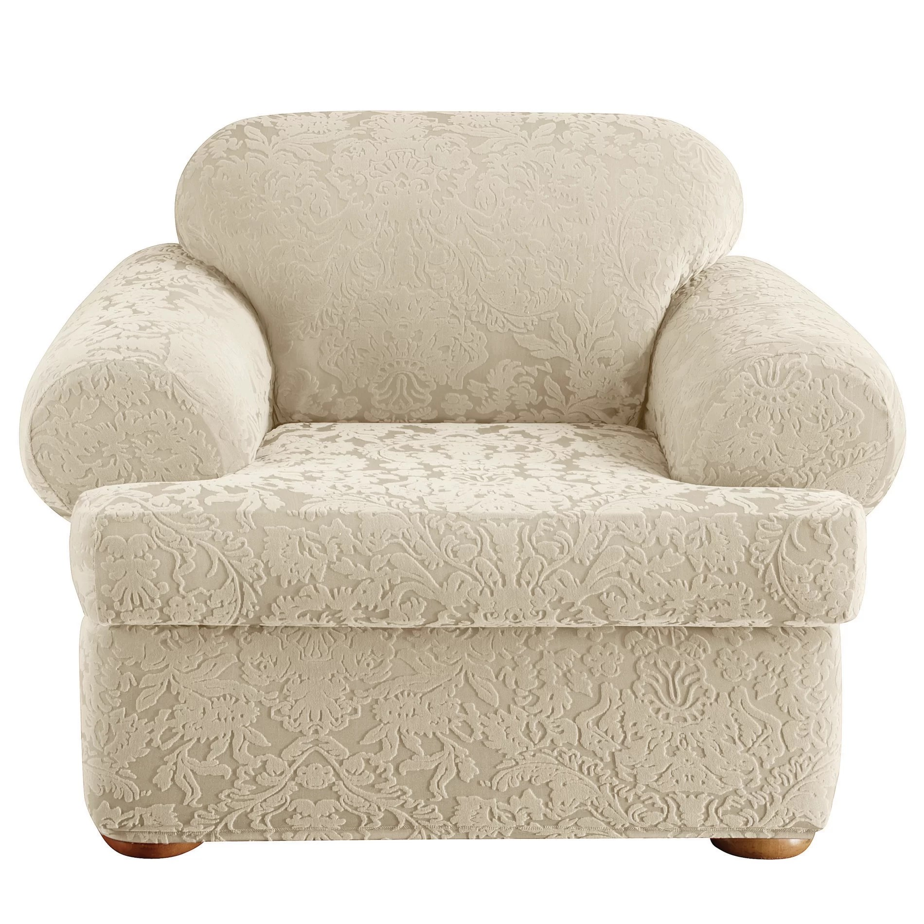 Chair Slipcovers T Cushion Sure Fit Stretch Jacquard Damask Armchair T Cushion