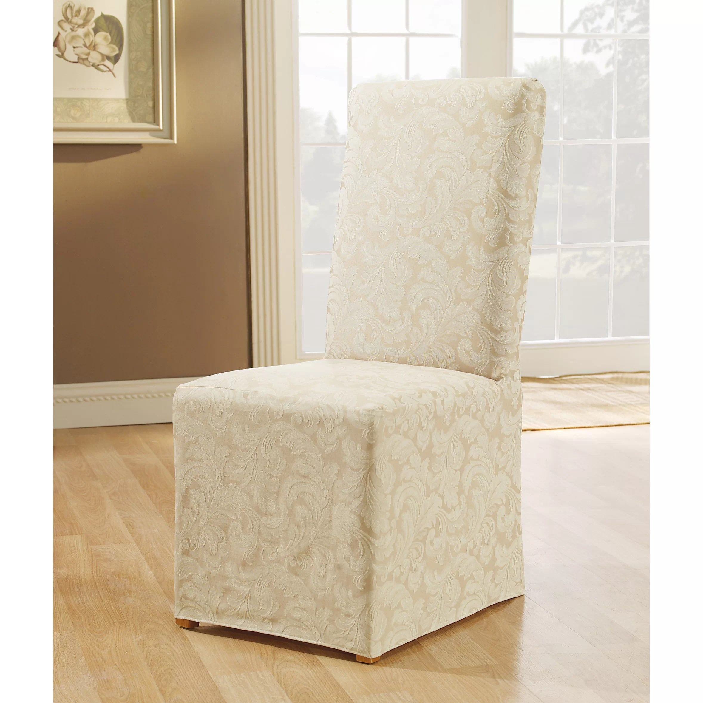 sure fit parsons chair slipcovers best nursery chairs scroll classic dining skirted slipcover