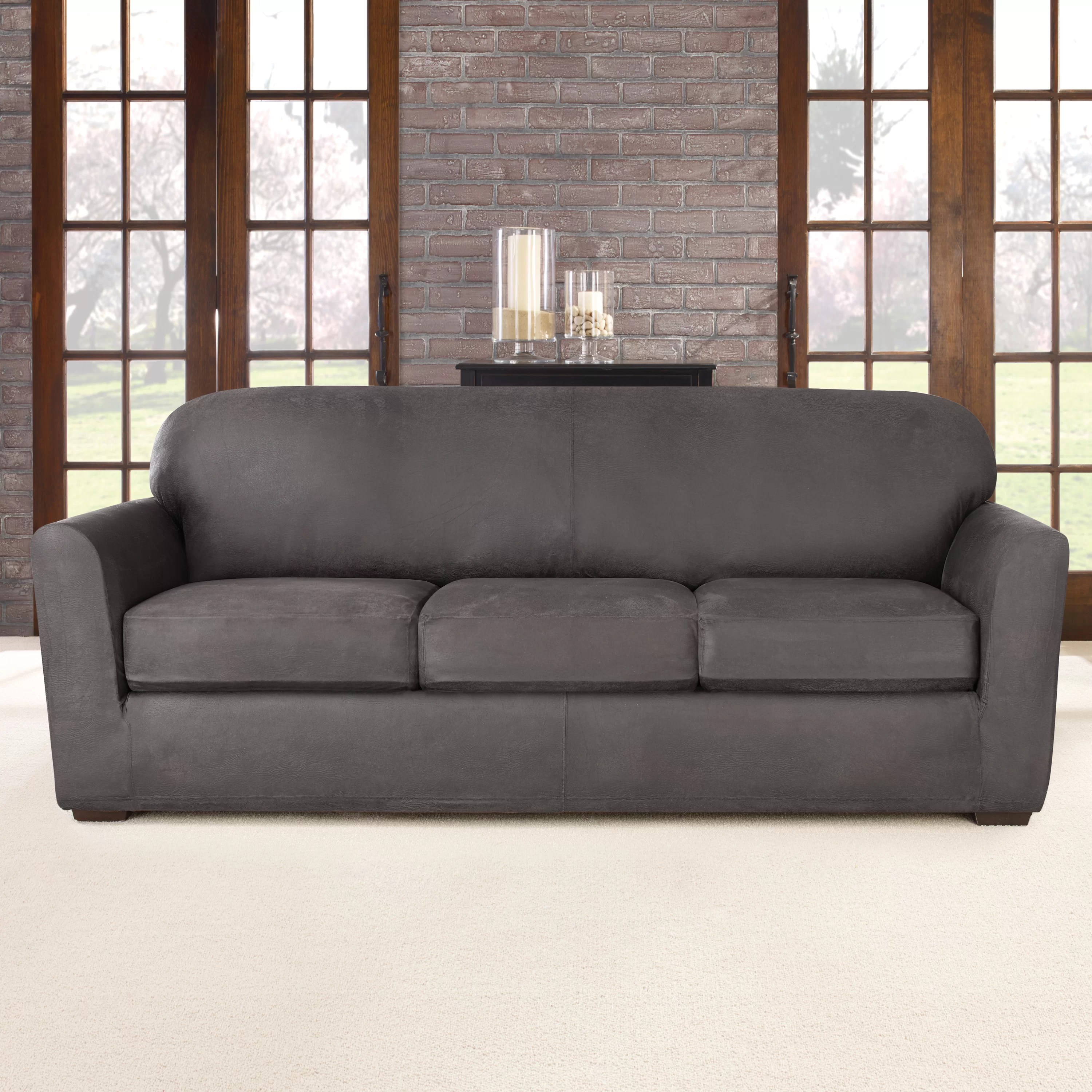 sure fit stretch pique 3 piece t cushion sofa slipcover brand reviews slipcovers for category thesofa