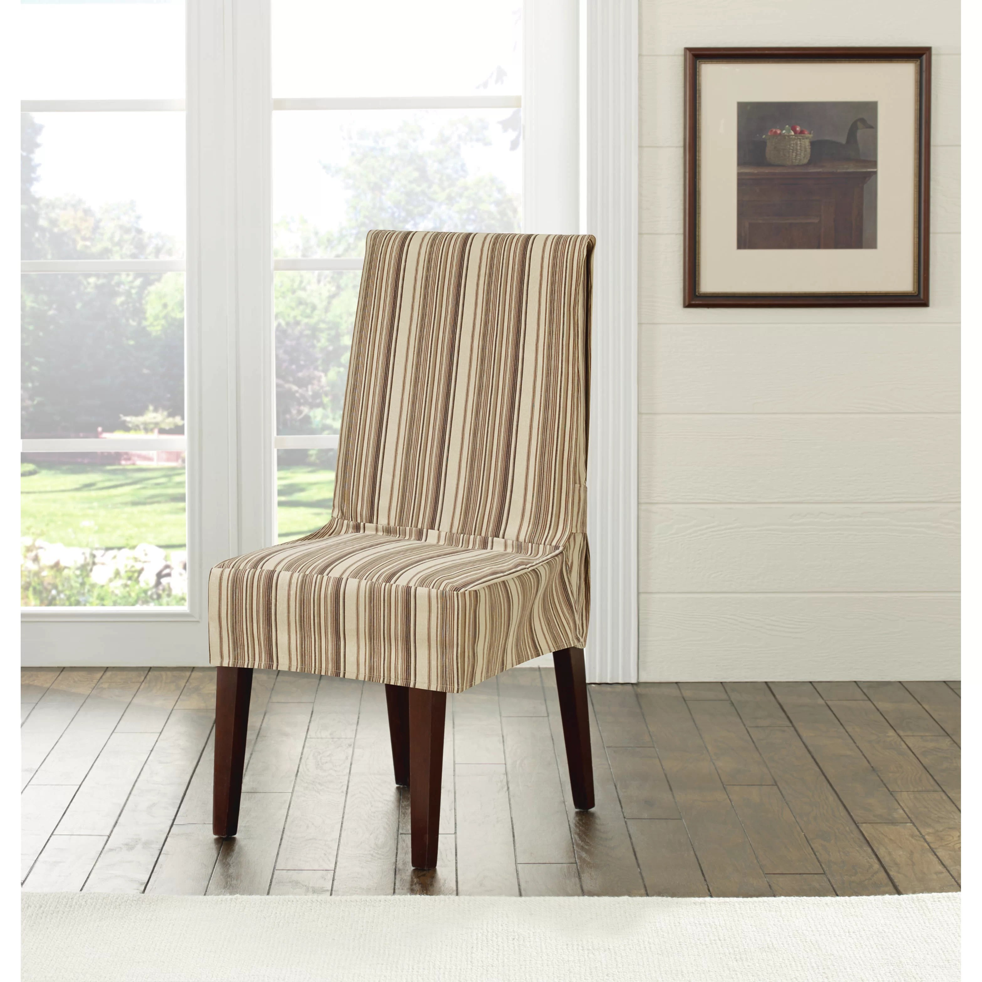 sure fit parsons chair slipcovers eames replica aldi harbor stripe dining slipcover and reviews