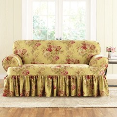 Slipcovers For Chair And A Half With T Cushion Childrens Desk Set Sure Fit Ballad Bouquet Loveseat Skirted