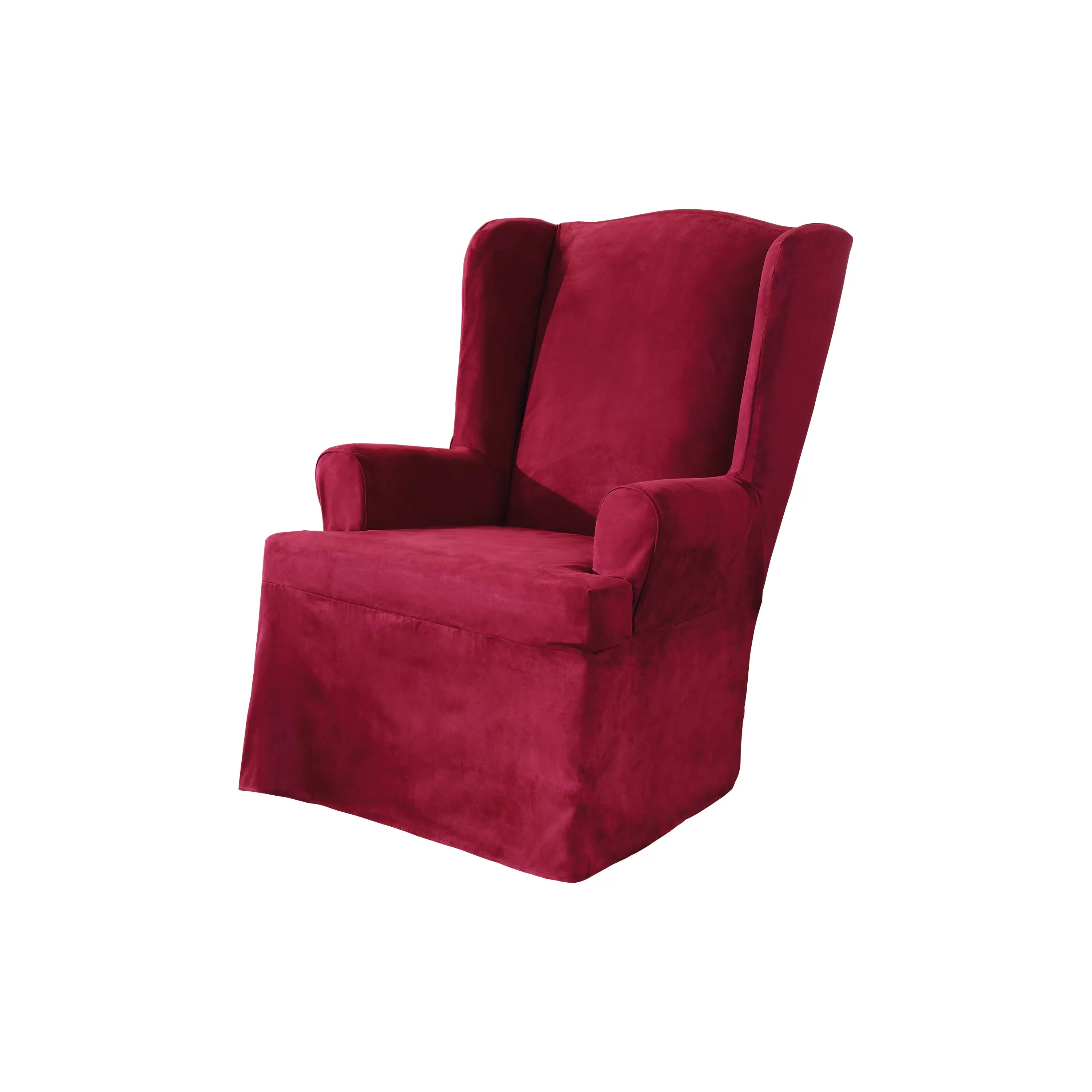 sure fit wing chair cover folding boat chairs garelick soft suede slipcover and reviews