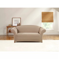 Sure Fit Stretch Stripe 2 Piece Sofa Slipcover Sand Ikea Chaise Sleeper Simple Ticking Loveseat