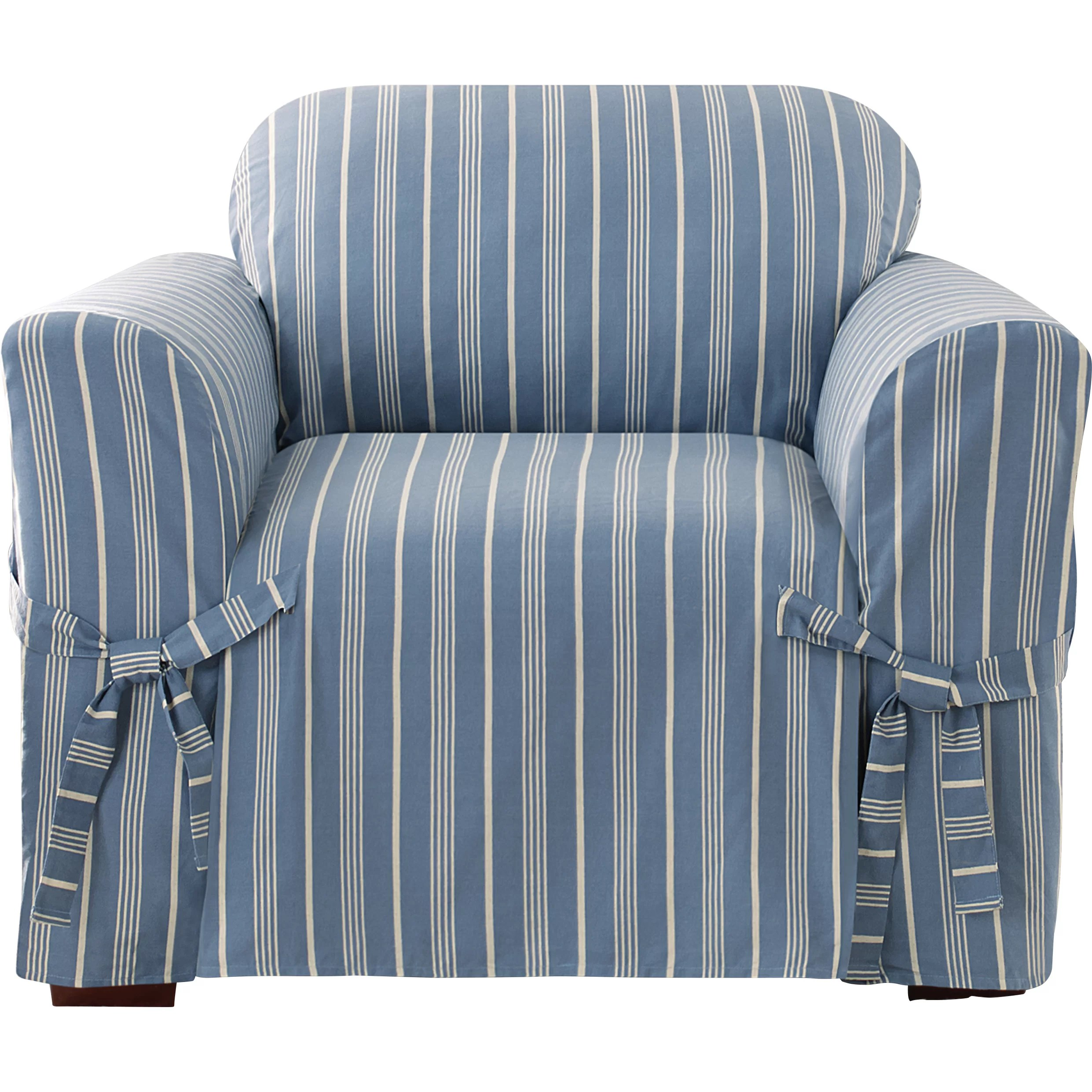 striped chair covers dining rooms wedding yes or no sure fit grain sack stripe box cushion arm slipcover