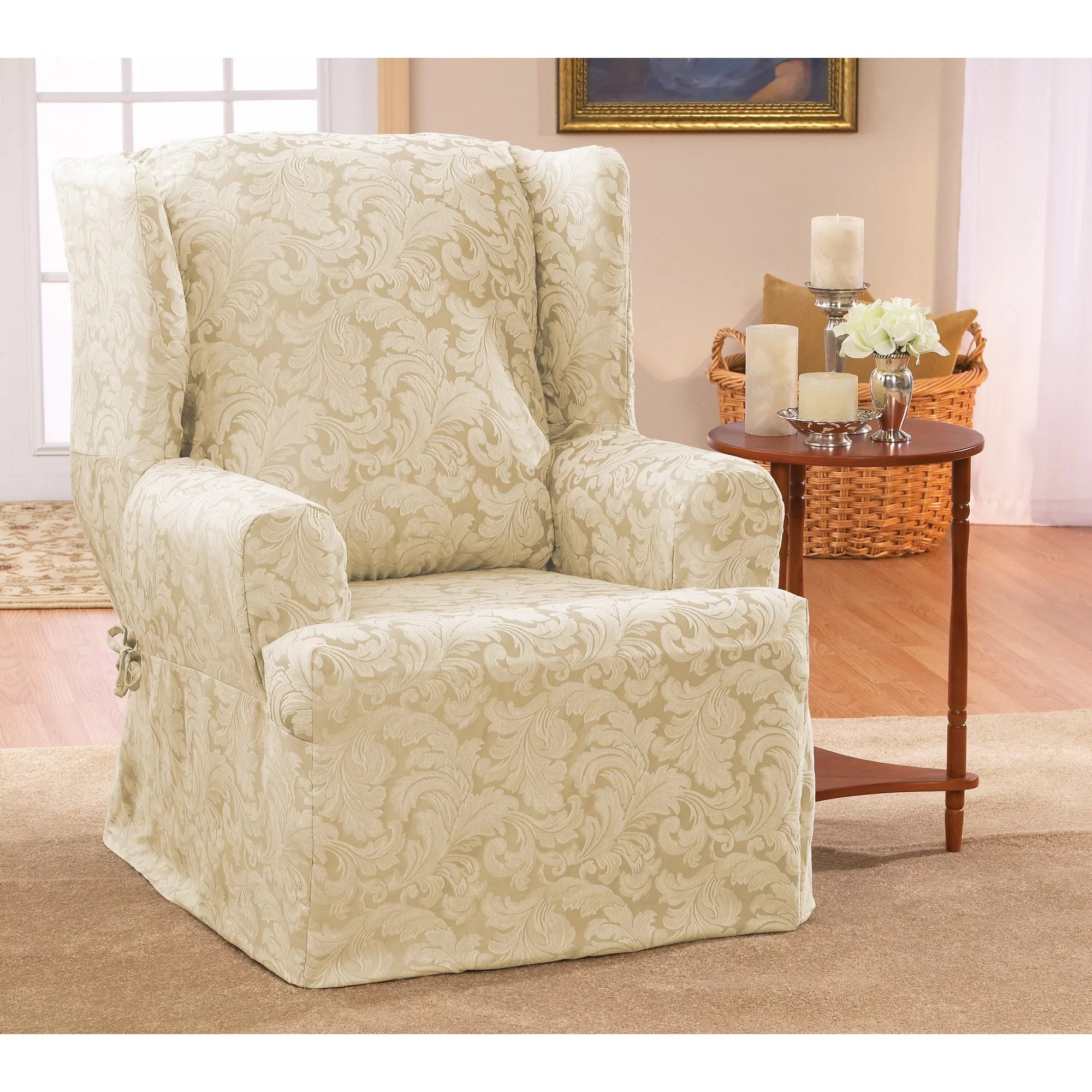 sure fit wing chair cover foam folding scroll classic t cushion skirted